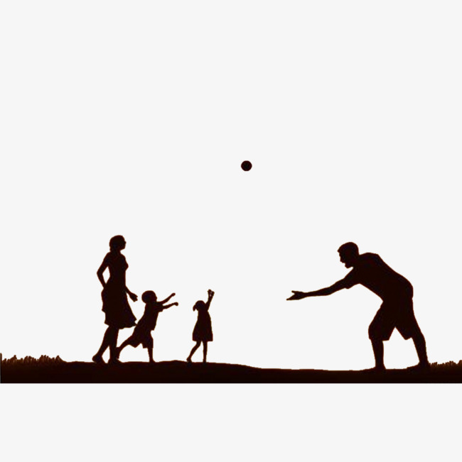 650x651 Happy Family, Black Silhouette, Share The Joy, Accompany A Child