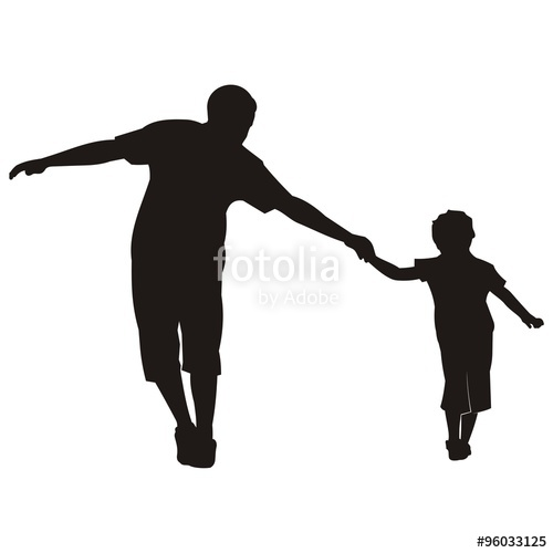 500x500 Happy Family Walking Black Silhouette Vector Stock Image