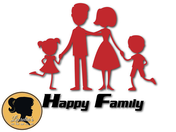570x428 Happy Family Silhouette, Happy Family Design Silhouette ,cutting