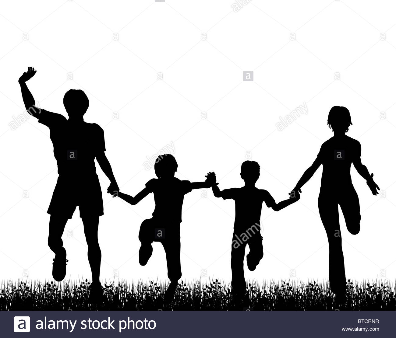 1300x1111 Illustrated Silhouette Of A Happy Family Running Through Grass