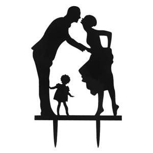 300x300 Romantic Wedding Cake Topper Silhouette Bride Groom Kid Happy
