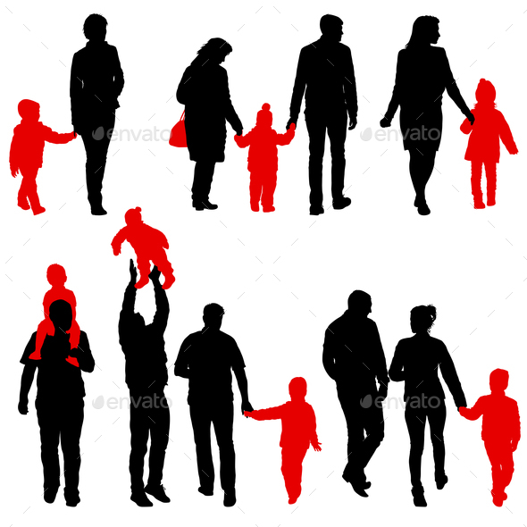 590x590 Set Silhouette Of Happy Family On A White Background Stock Photo