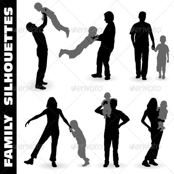 590x590 Silhouette Happy Family Happy Family, Silhouettes And Template