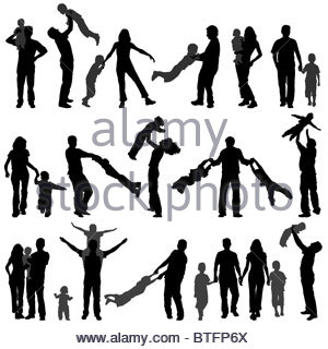 300x320 Collect Vector Silhouette Happy Family With Child On Walk Stock