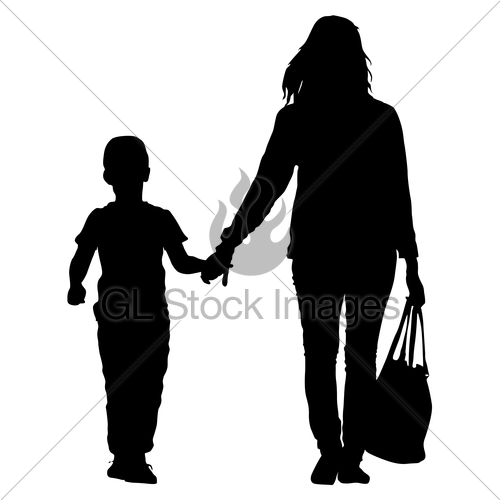 500x500 Silhouette Of Happy Family On A White Background. Vector Gl