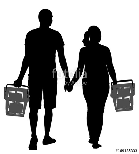 451x500 Couple Holding Hand And Walking In Shopping Market Vector