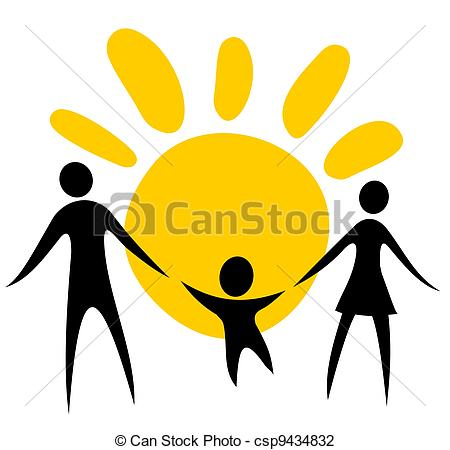 450x450 Family Symbol. Happy Family Silhouettes On A Sun Background. Clip