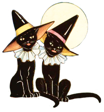 354x382 Halloween Black Cats Clipart
