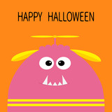 160x160 Happy Halloween Card. Funny Monster Head Silhouette With Fang