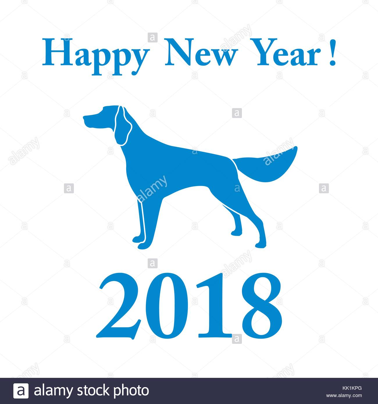 1300x1390 Setter Silhouette And Inscription Happy New Year. Design Element