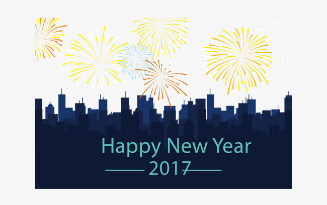 650x408 City Silhouette New Year Card, Blue, City Silhouette, Flat Png