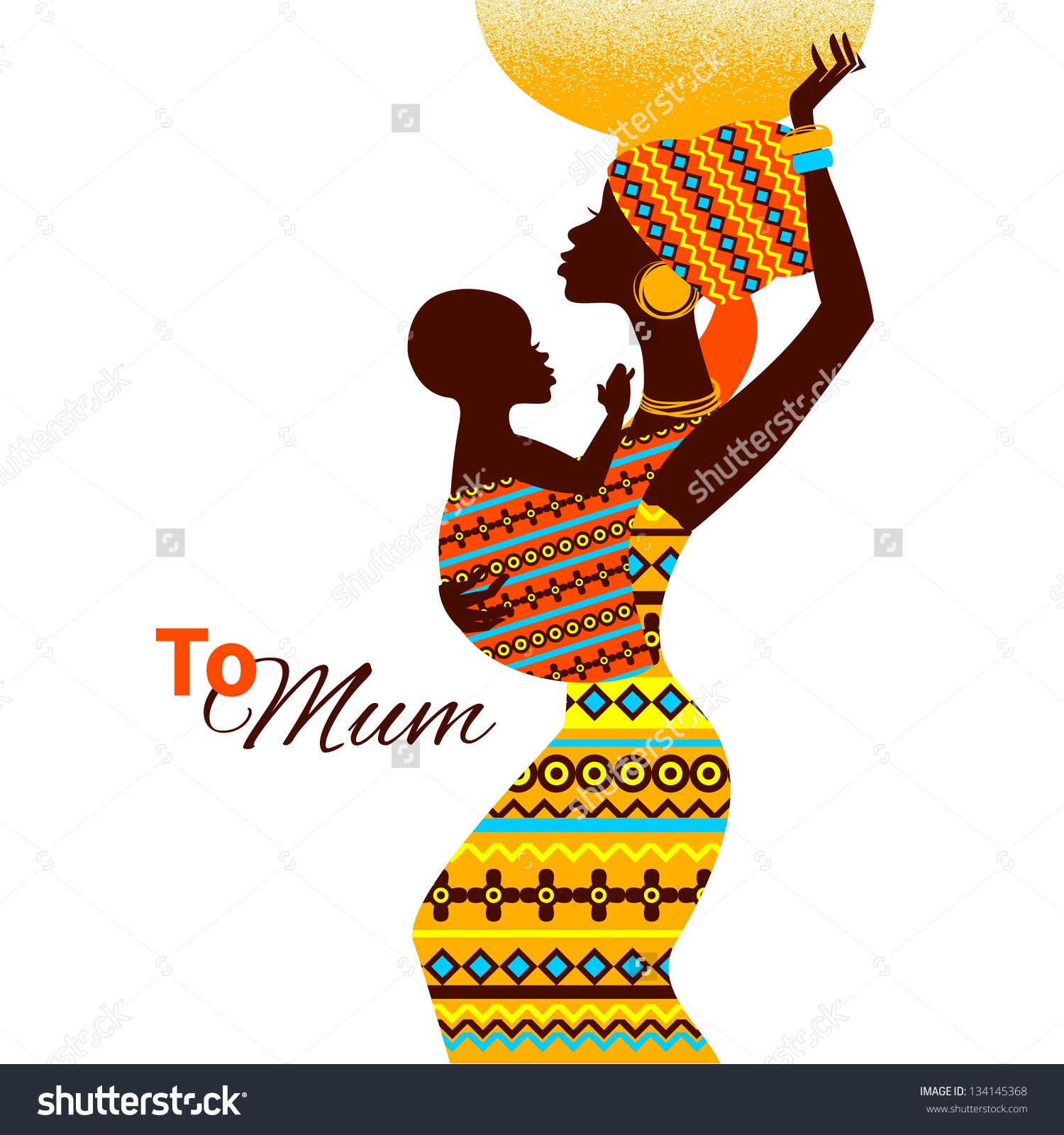 1500x1600 Beautiful Silhouette Of Black African Mother And Baby In Retro