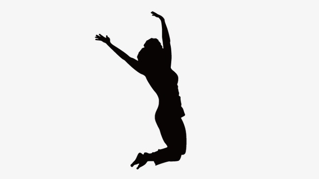 650x366 Jumping Silhouette Figures, Woman Silhouette, Vector Silhouettes