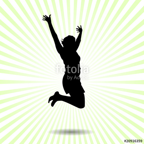 500x500 Happy Woman Jumping Of Joy Vector Silhouette Stock Image
