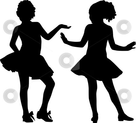 450x407 Little Girl Silhouette Clip Art Silhouette Happy Girls Stock