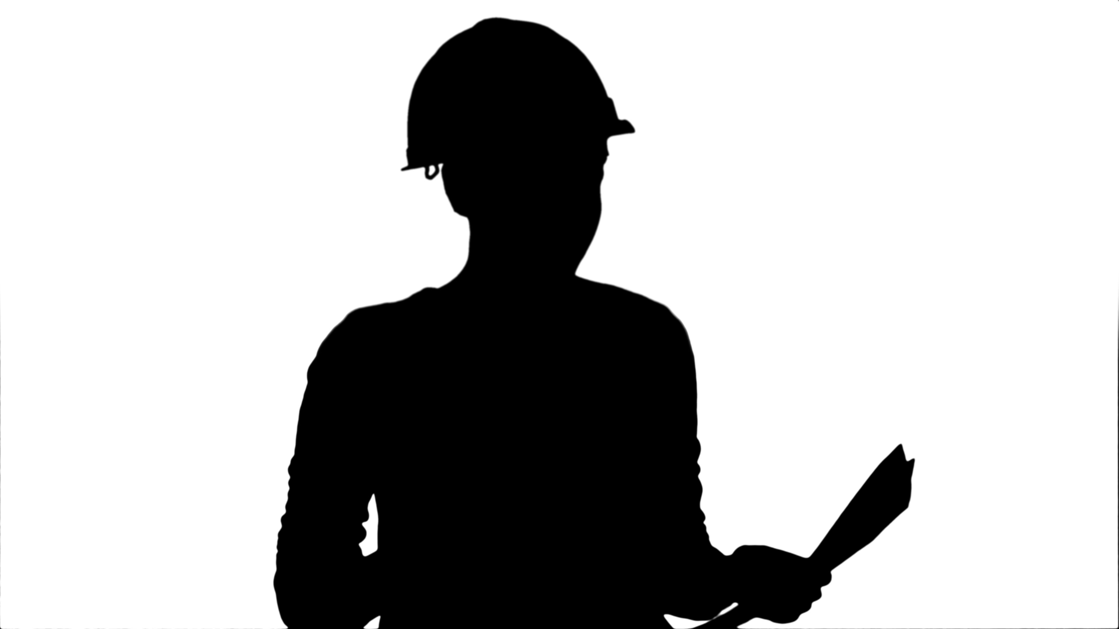 3840x2160 Silhouette Angry Female Engineer In Hardhat With Documents