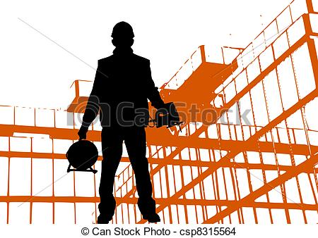 450x338 Black Silhouette Of Worker Wearing Hard Hat Outdoors Near Stock