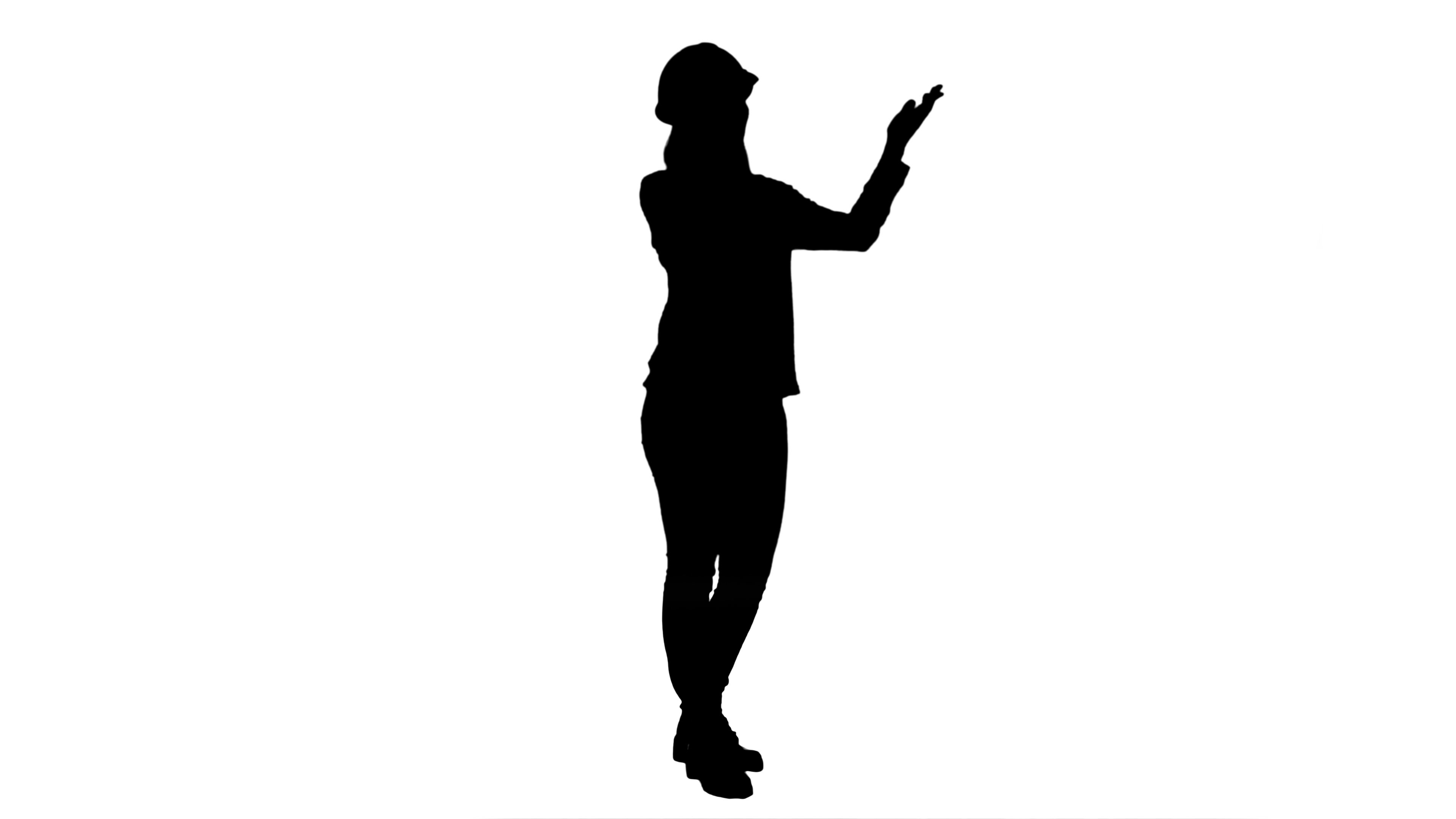 3840x2160 Silhouette Beautiful Female Engineer In Hardhat Havin A Phone Call