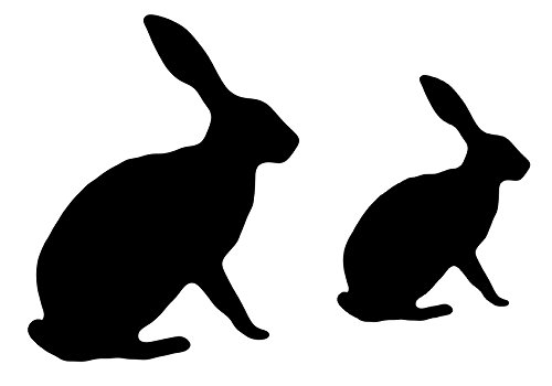 500x350 Shabby Chic Stencil Hare Silhouette 2 Sizes Rabbit Bunny Rustic