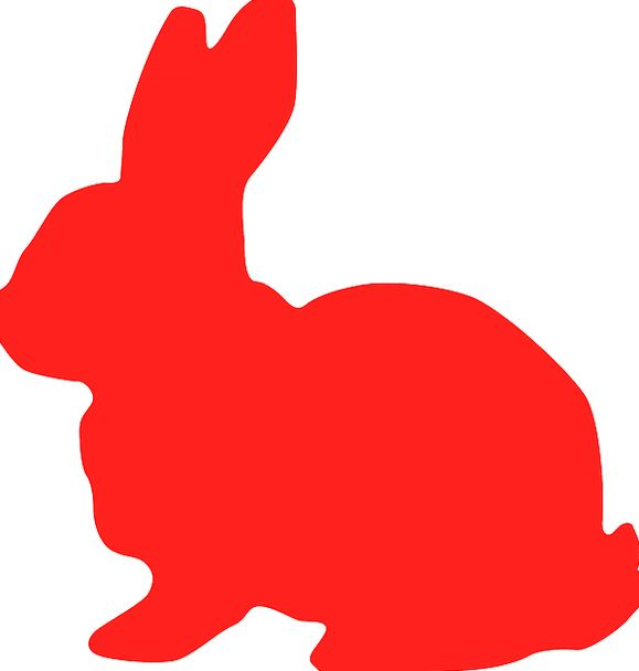 579x608 Bunny, Red, Bloodshot, Rabbit, Silhouette, Outline, Hare, Animal