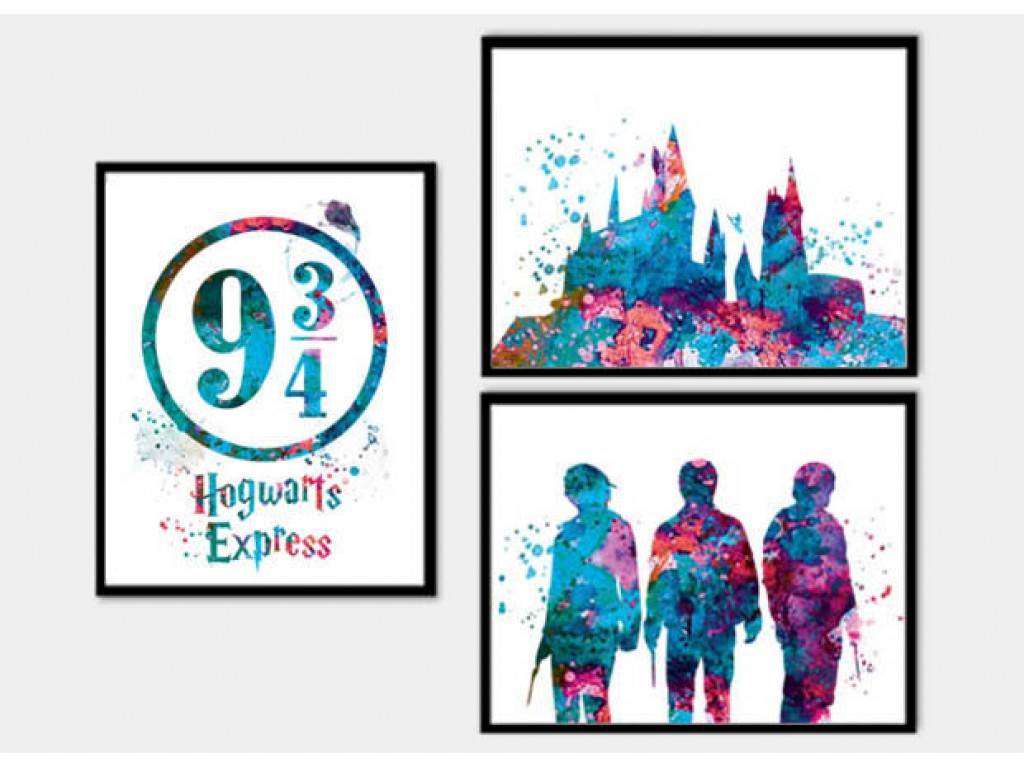 1024x768 Potter Poster Set Of 3 Print Hogwarts Castle Watercolor Art Print