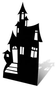 194x300 Haunted House Silhouette Cardboard Cutout Figure 186cm Tall