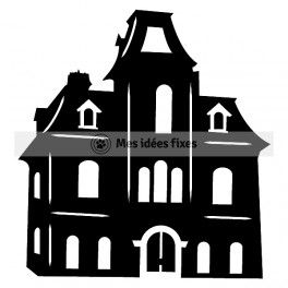 264x264 Haunted House Silhouette Cut File Svg Files