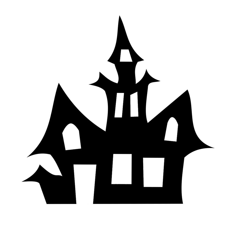 1001x1001 House Silhouette Spooky Halloween Vinyl Sticker Car Decal