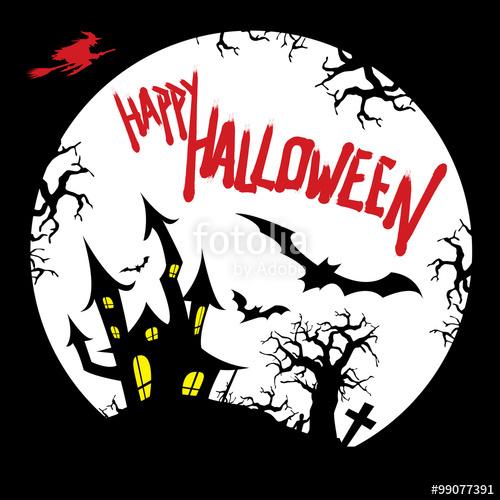 500x500 Happy Halloween Card Design With Haunted House, Graveyard, Bats