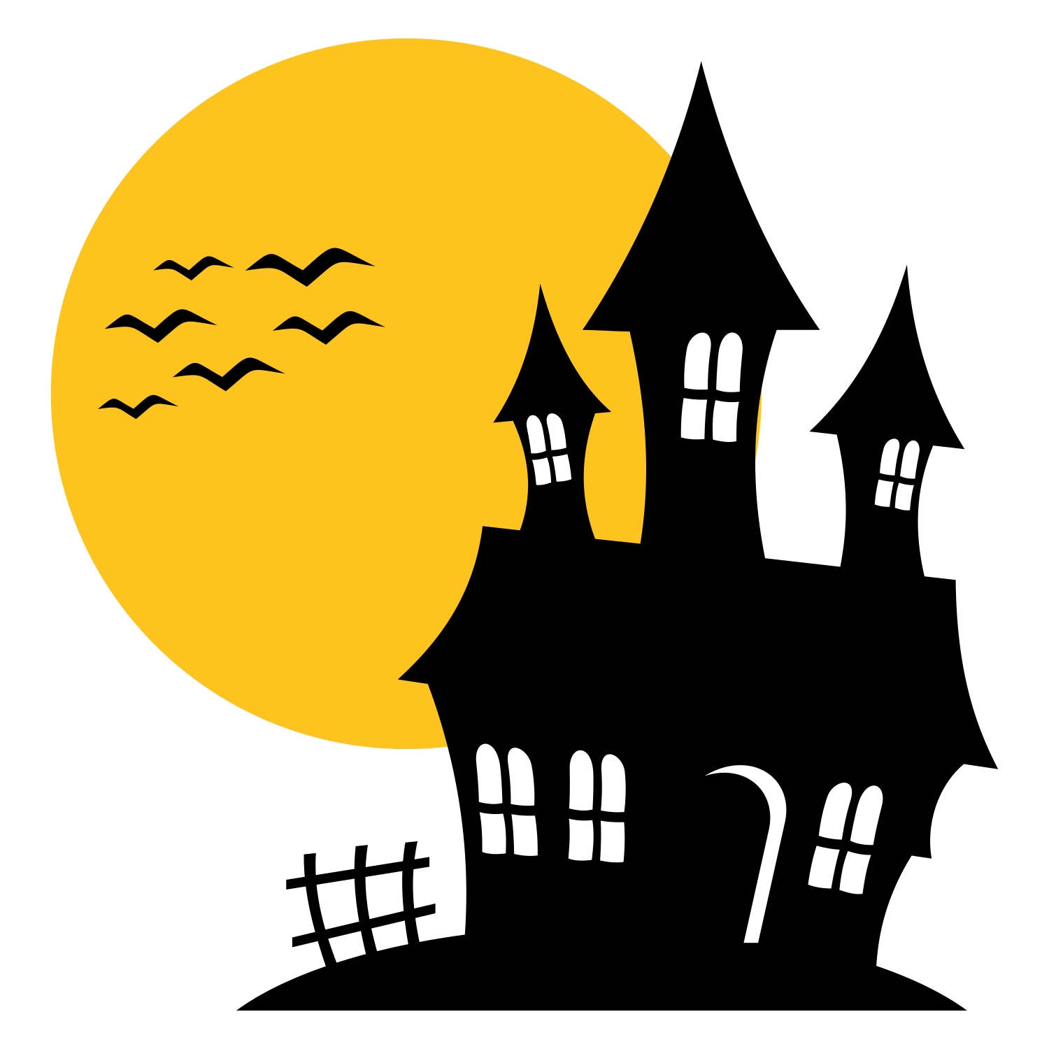 1500x1500 Haunted House Silhouette Free Design Templates