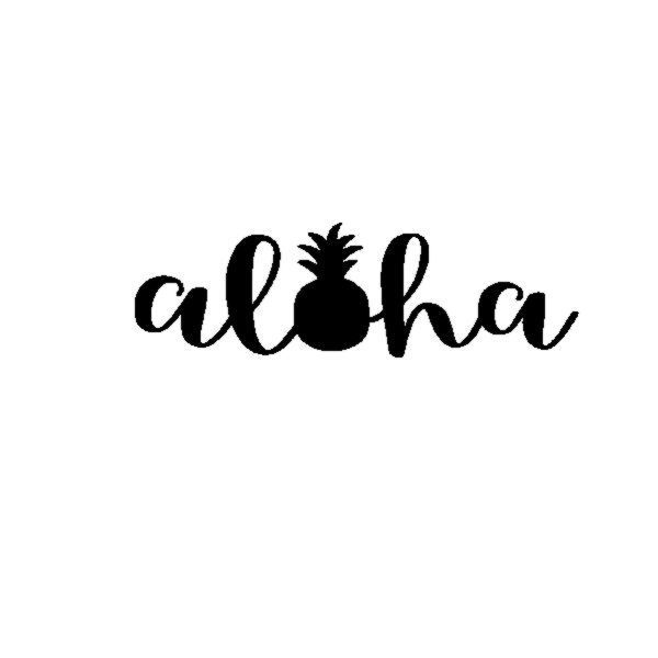 600x600 Aloha Pineapple Vinyl Decal Sticker Welcome Hawaii Tropical Luau