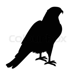 320x320 Side View Silhouette Of A Flying Falcon Or Hawk With Its Powerful
