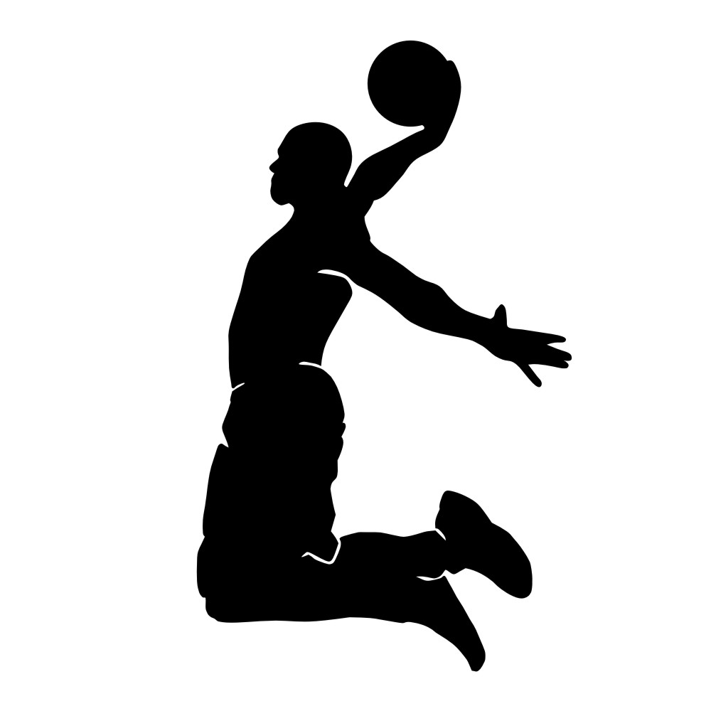 1000x1000 Basketball Silhouette Clipart Black And White Free Collection