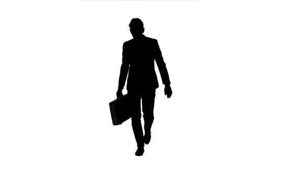 590x332 Man Holds A Briefcase In His Hand, He Rushes Over It. White