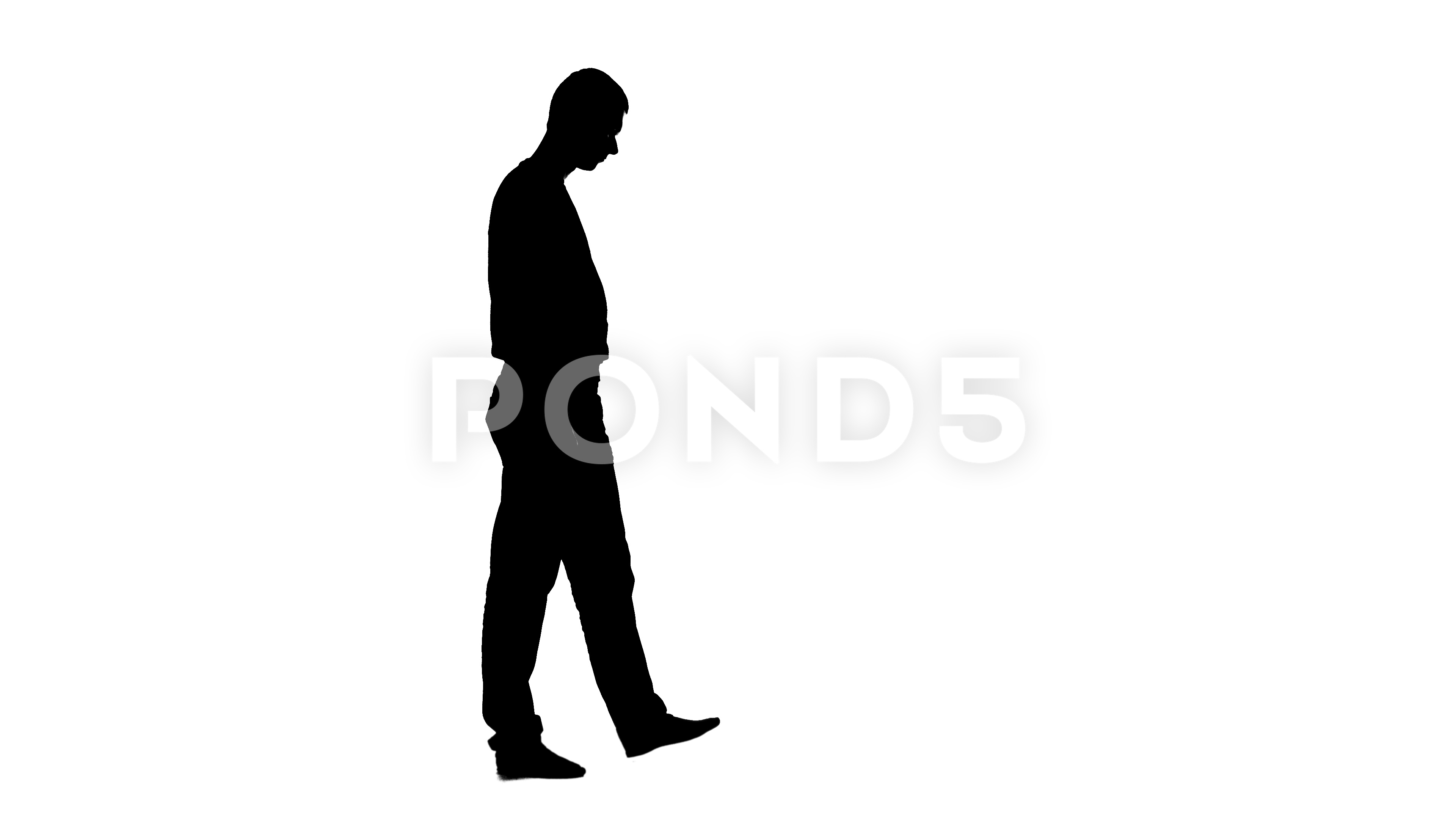3840x2160 Video Man Walks Around The Room, He Is Tired Of Work. Silhouette