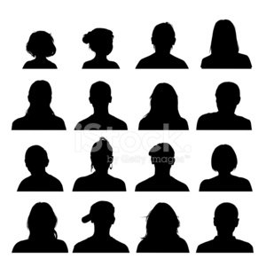 300x300 Head And Shoulders Silhouettes Collection Stock Vectors