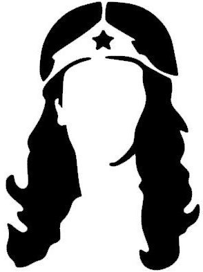 294x393 Wonder Woman Silhouette Head Profile Decal Sticker for Truck