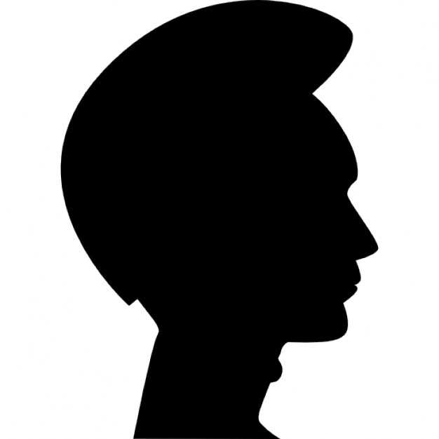 626x626 Man Hair Shape On Head Side View Silhouette Icons Free Download