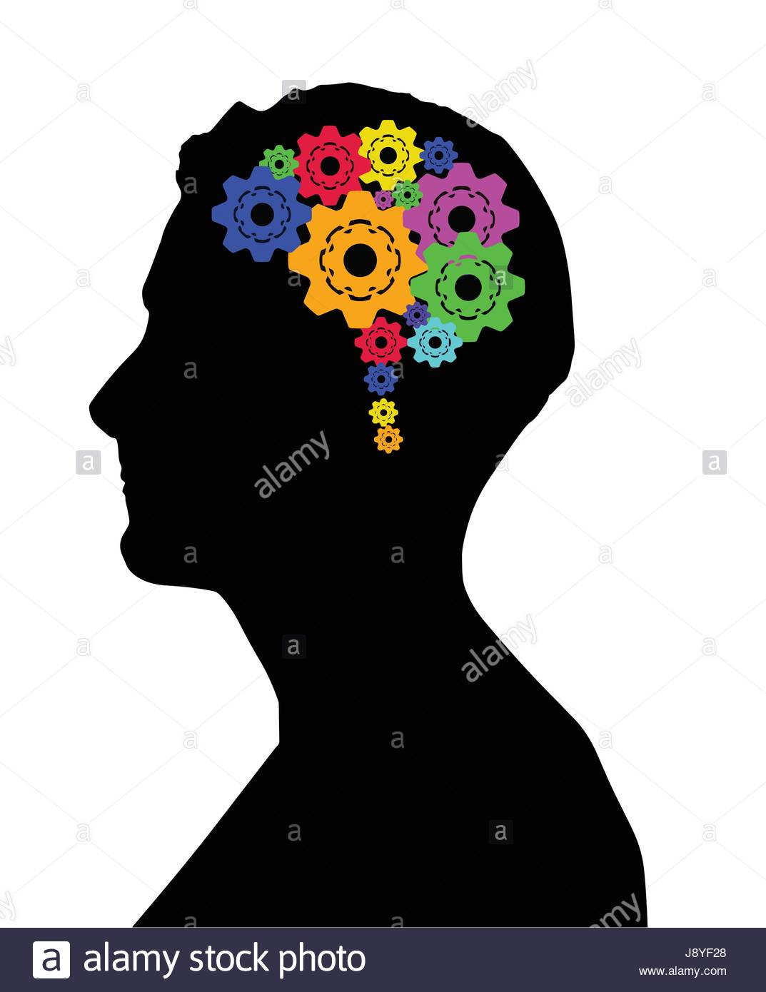 1073x1390 Side Silhouette Of Man's Head Showing Coloured Cogs Inside His