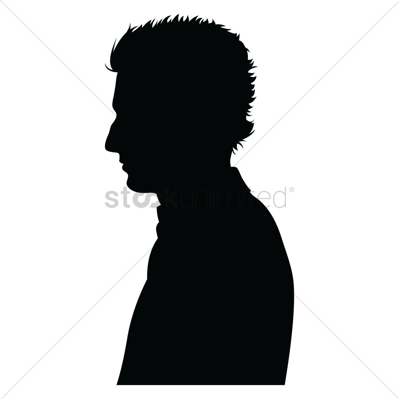 1300x1300 Side View Of A Silhouette Man Vector Image