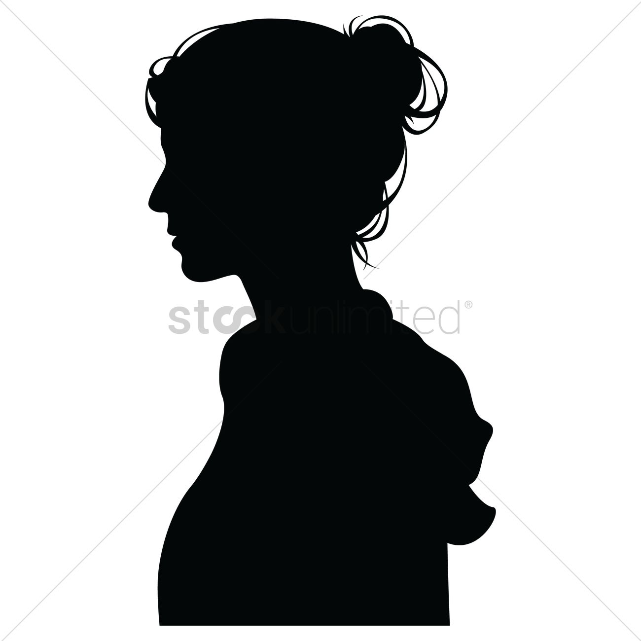 1300x1300 Side View Of A Silhouette Woman Vector Image