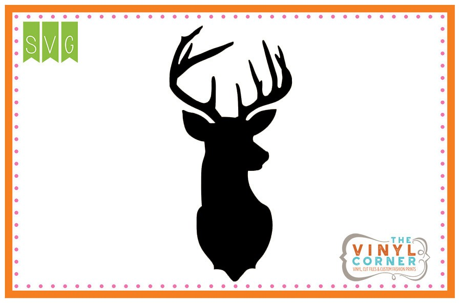 900x600 Applique Corner Deer Head Silhouette Cuttable Svg Clipart Design