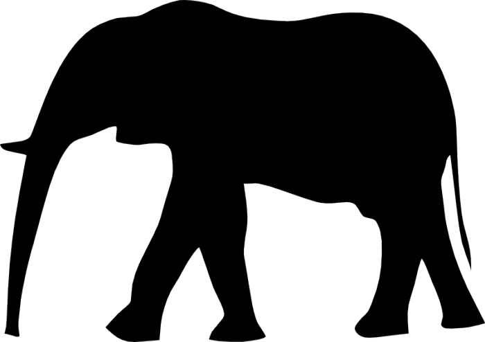 700x494 Black Clipart Elephant Head Silhouette