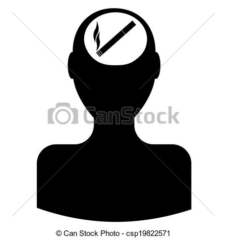 450x470 Head Silhouette Smoker Vectors Illustration