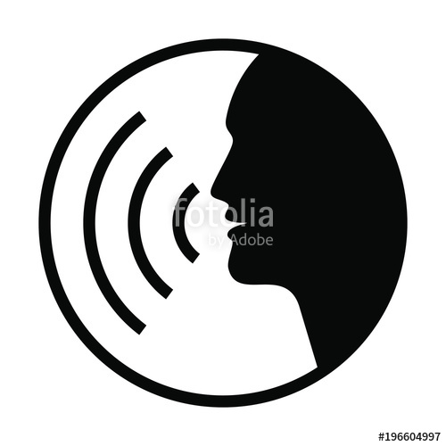 500x500 Icon Voice Command With Sound Waves. Sign Speaking Man. Black
