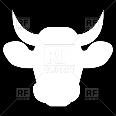 400x400 Cow Head White Silhouette Icon Royalty Free Vector Clip Art Image