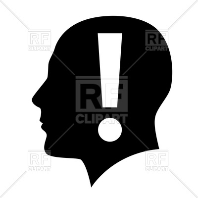 400x400 Head Silhouette With Exclamation Point Mark Inside Royalty Free