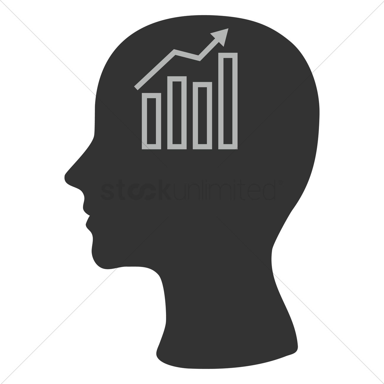 1300x1300 Human Head Silhouette With Business Growth Graph Vector Image
