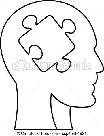 361x470 Man Head Silhouette With Puzzle Piece Icon. Outline Vector
