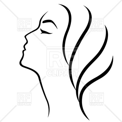 400x400 Outline Of Woman Head Royalty Free Vector Clip Art Image